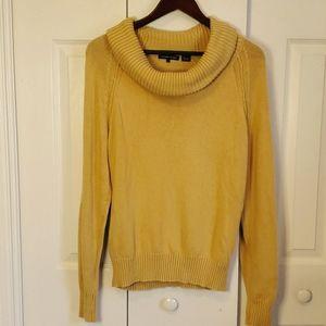 Jeanne Pierre Mustard Pullover Cowl Neck Sweater